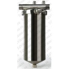 Фильтр тонкой очистки из нержавеющей стали со сливным клапаном и крепежным хомутом Ø3/4  АкваВик  (с картриджем)