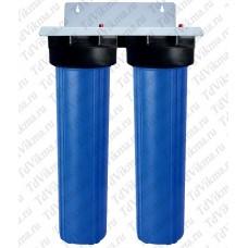 """Колба фильтр для тонкой очистки Вig Вlue 20 двойной АкваВик  (Подключение латунь 1"""")"""