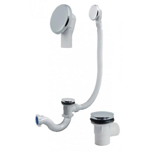 "Сифон для ванны 1 1/2""х40, «S» тип, «клик-клак», с переливом (перелив и слив-металл)"