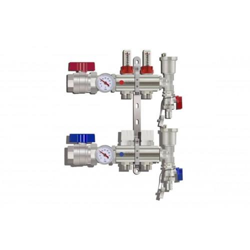 """Коллекторная группа Tim (KA002) 1"""", 2 вых., расходомер, воздухоотводчик, сливной кран, термометр"""