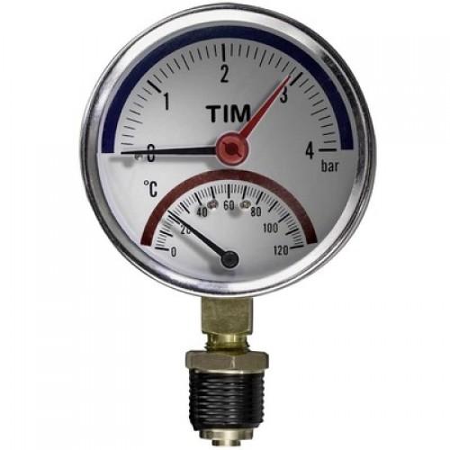 Термо-Манометр радиальный 6 бар (прямой)  TIM