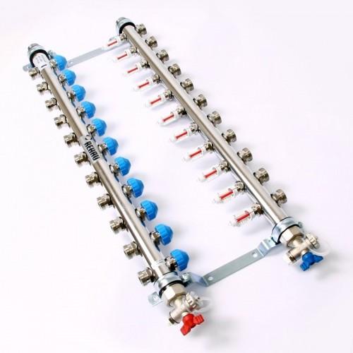 Распределительный коллектор с расходомерами REHAU HKV-D на 11 контуров