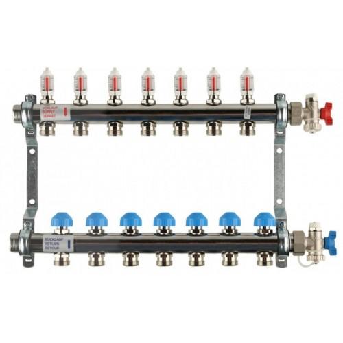 Распределительный коллектор с расходомерами REHAU HKV-D на 7 контуров