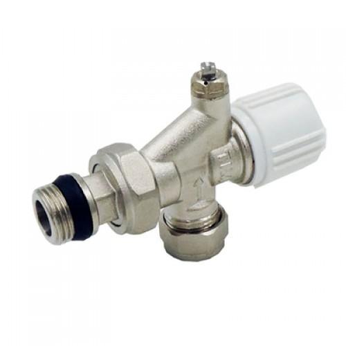 Клапан термостатический угловой с осевым управлением воздухоотводчиком
