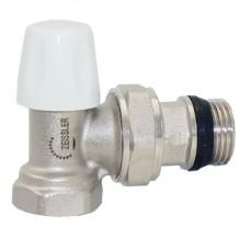 Клапан нижний радиаторный настроечный угловой с конусным затвором и кольцевым уплотнением полусгона