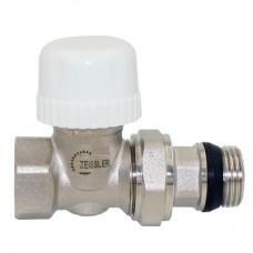 Клапан радиаторный термостатический ПРЯМОЙ с преднастройкой и кольцевым уплотнением полусгона