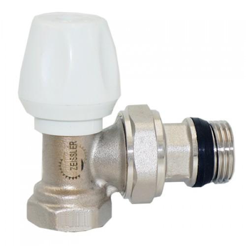Клапан регулировочный угловой с конусным затвором и кольцевым уплотнением полусгона