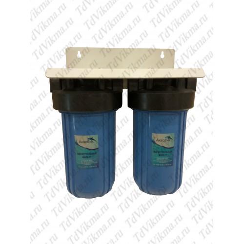 """Колба фильтр для тонкой очистки Вig Вlue 10 двойной АкваВик  (Подключение латунь 1"""")"""