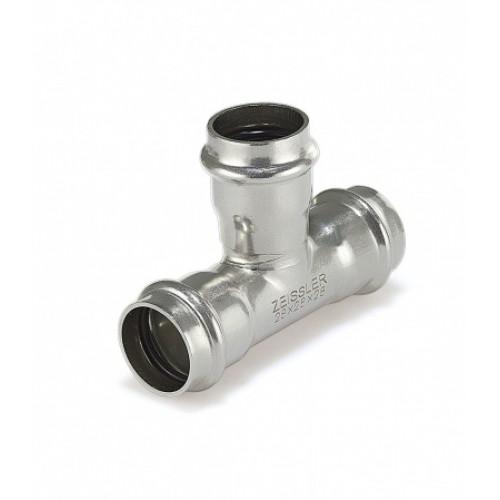Трехраструбный пресс-тройник ZEISSLER 28*15*28mm из нержавеющей стали