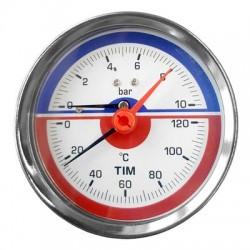 Термо-Манометр аксиальный 6 бар (боковой) TIM