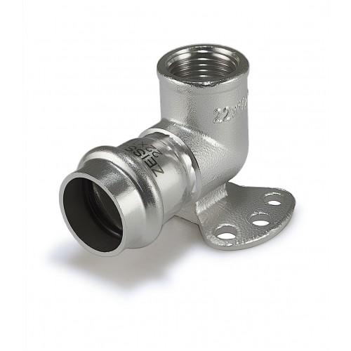 Пресс-угольник с креплением ZEISSLER 22mm*3/4 внутренняя резьба из нержавеющей стали (водорозетка)