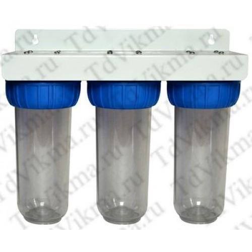 """Магистральный фильтр тонкой очистки АкваВик 3/4"""" 3-ой, с накидной гайкой"""
