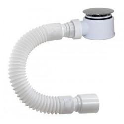 Сифон Orio для душевого поддона, 1 1/2 х 50, высота h=52 мм, пластик/хром, с гибкой трубой 40-50